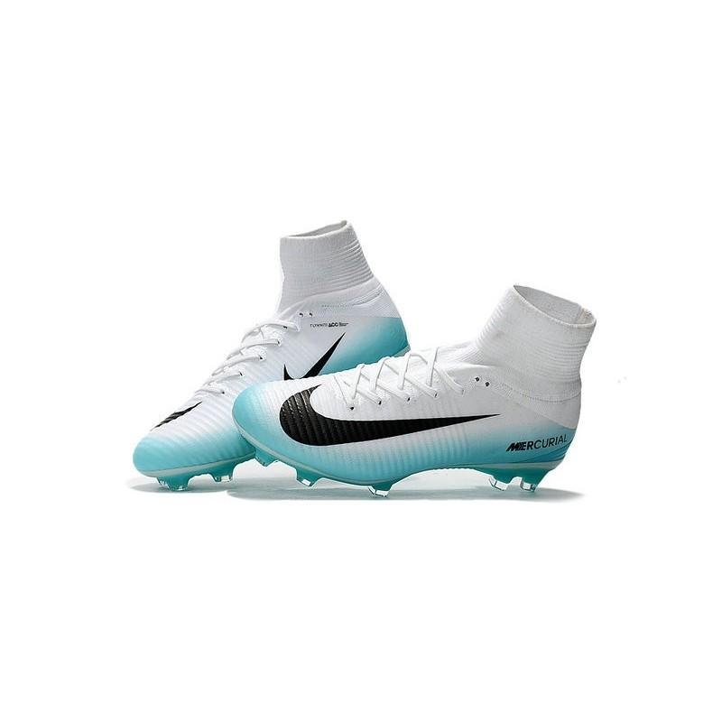 chaussure de cristiano ronaldo nike mercurial superfly 5 fg blanc bleu noir zoom. précédent. suiva
