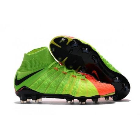 Chaussures de Football 2017 Nike Femme Hypervenom Phantom 3 DF FG Vert Noir Orange