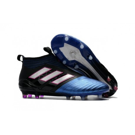 Nouvelles Crampons Foot Adidas Ace17+ Purecontrol FG/AG Noir Blanc Bleu