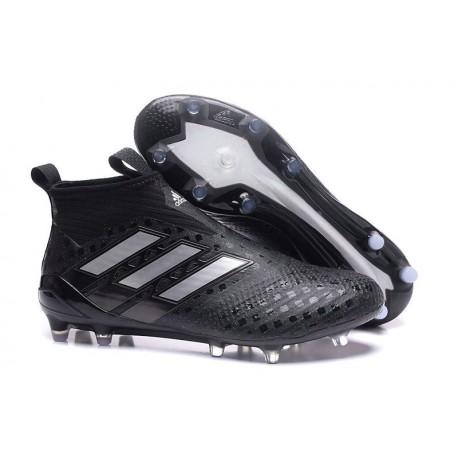 Chaussure de Foot Adidas ACE 17+ Purecontrol FG 2017 Noir Blanc Nuit métallique