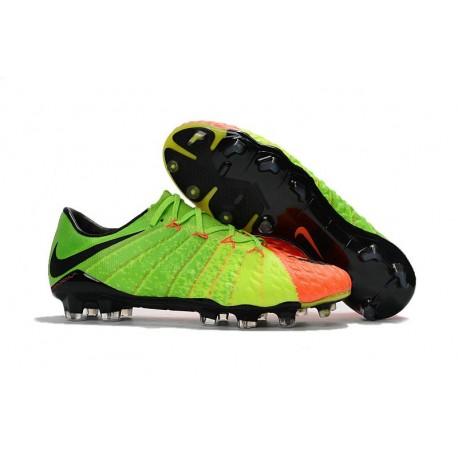 Nouveau Nike Hypervenom 3 FG Chaussure de Foot Pas Cher Vert Noir Orange