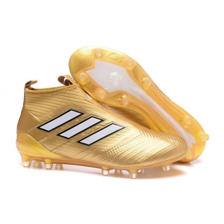 Chaussure Football Adidas ACE 17+ Purecontrol FG Pour Hommes Blanc Or