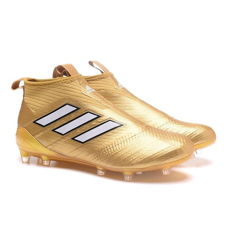 size 40 70768 d1ab5 Chaussure Football Adidas ACE 17+ Purecontrol FG Pour Hommes Blanc Or Zoom.  Précédent. Suivant