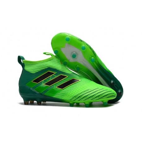 Chaussure de Foot Adidas ACE 17+ Purecontrol FG 2017 Vert solaire Noir Vert
