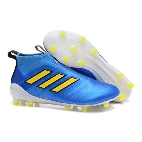 Crampons Football Adidas ACE 17+ Purecontrol FG -  Bleu Jaune Blanc