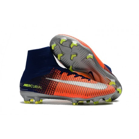 2017 Chaussures de Football Nike Mercurial Superfly V FG - Orange Jaune Argent
