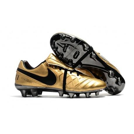 Nike Tiempo Legend VII FG - Chaussures de Football pour Hommes Totti X Roma Or Noir