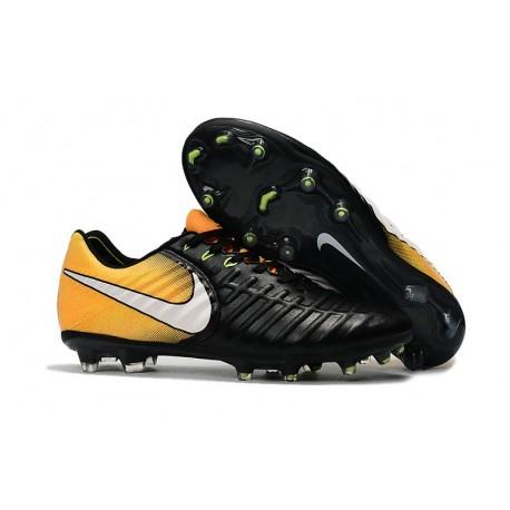 Nike Tiempo Legend VII FG - Chaussures de Football pour Hommes Noir Blanc Jaune
