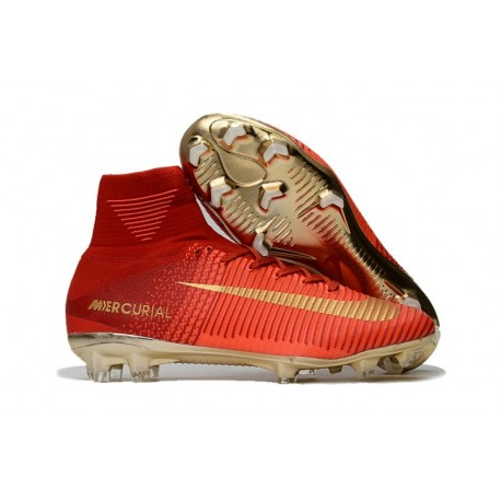 Chaussures de Foot Pas Cher Nike Mercurial Superfly V FG - Rouge Or
