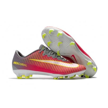 Chaussures de Foot Nike Mercurial Vapor XI FG Rose Gris Jaune