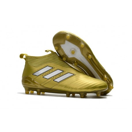 Nouvelles Crampons Foot Adidas Ace17+ Purecontrol FG/AG Or Blanc
