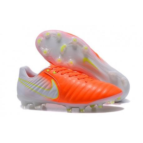 Nike Tiempo Legend VII FG - Chaussures de Football pour Hommes Orange Blanc