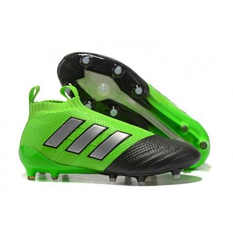 Nouvelles Crampons Foot Adidas Ace17+ Purecontrol FG/AG Vert Noir Argenté