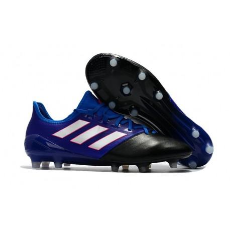 Nouvelles Chaussure Adidas Ace 17.1 FG Noir Blanc Bleu