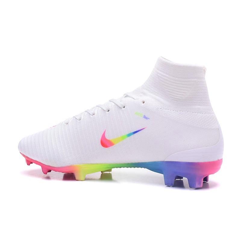 info for 1f0f1 55485 Chaussures de Foot Pas Cher Nike Mercurial Superfly V FG - Blanc Rose Volt  Vert Bleu Zoom. Précédent. Suivant
