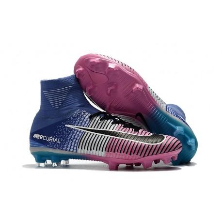 Chaussures de Foot Pas Cher Nike Mercurial Superfly V FG - Bleu Rose Noir