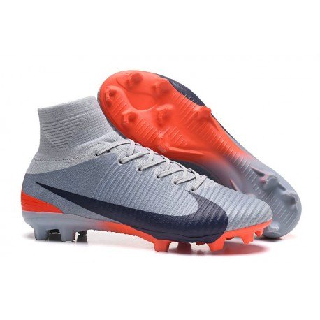 Chaussures de Foot Pas Cher Nike Mercurial Superfly V FG - Gris Noir Orange
