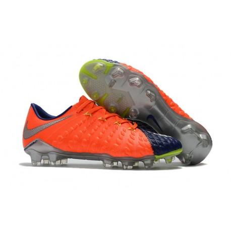 Nouveau Nike Crampons Hypervenom Phantom III FG Orange Bleu Argent