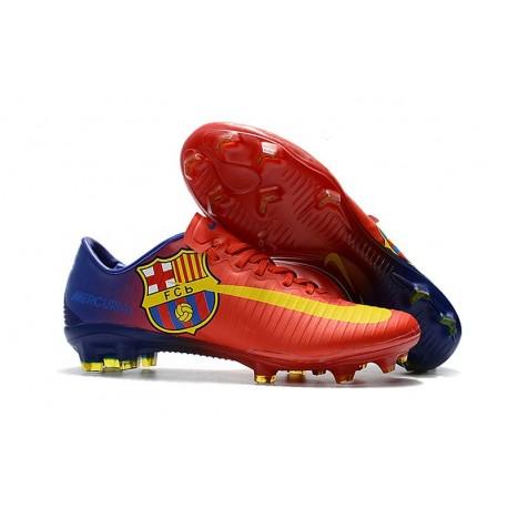 online store 5293a 2f2fa Nouveau Chaussures de Foot Nike Mercurial Vapor 11 FG Barcelona Rouge Bleu  Jaune