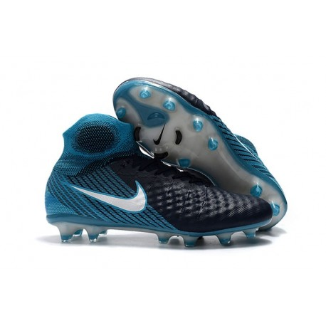 Crampons De Foot Nike Magista Obra 2 FG ACC Blanc Bleu Noir