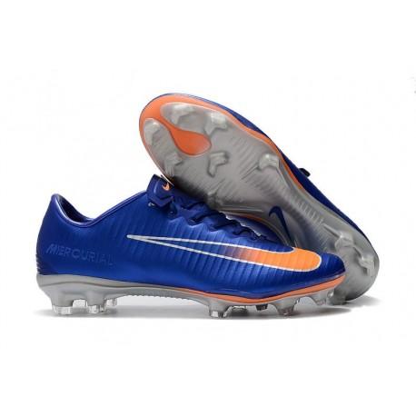 Nouveau Chaussures de Foot Nike Mercurial Vapor 11 FG Bleu Orange Argent