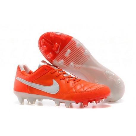 Nike Tiempo Legend V FG terrain sec - Chaussures Pas Cher - Orange Blanc Argenté