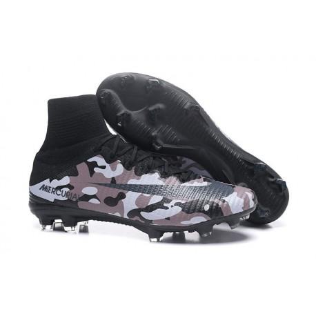 Chaussures de Foot Pas Cher Nike Mercurial Superfly V FG - Camouflage Gris Noir