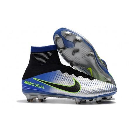 Chaussures de Football Nike Mercurial Superfly V FG - Hommes - Bleu Noir Chrome Volt