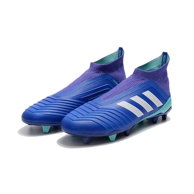 info for c1891 6d907 Chaussures de Football 2018 - adidas Predator 18+ FG Bleu Blanc Zoom.  Précédent. Suivant