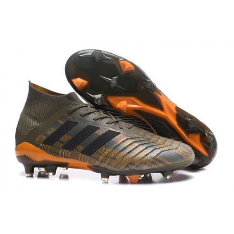 Chaussures de Football Pour Hommes - adidas Predator 18.1 FG Olive Noir Orange Vif