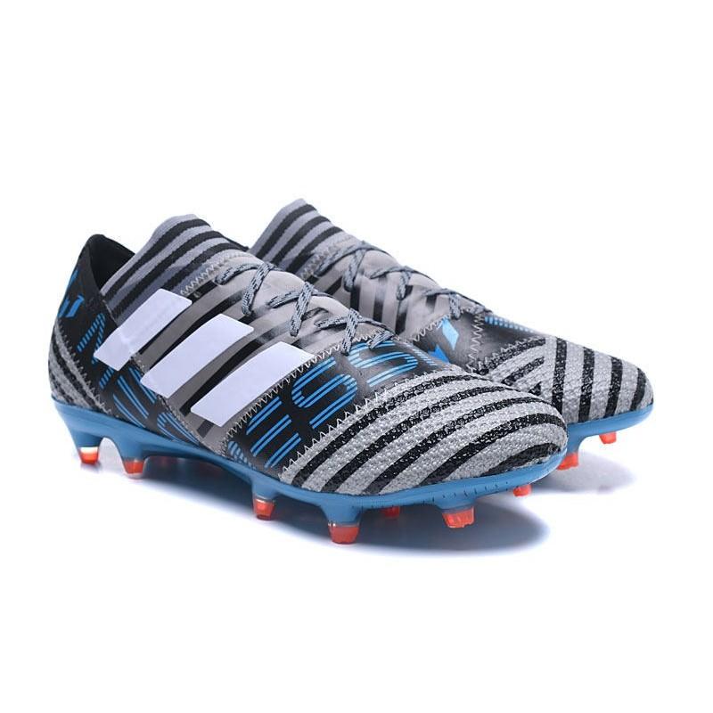 low priced 0b7dd 5d878 Nouvelles Crampons Adidas - Nemeziz Messi 17.1 FG Gris Noir Bleu Zoom.  Précédent. Suivant