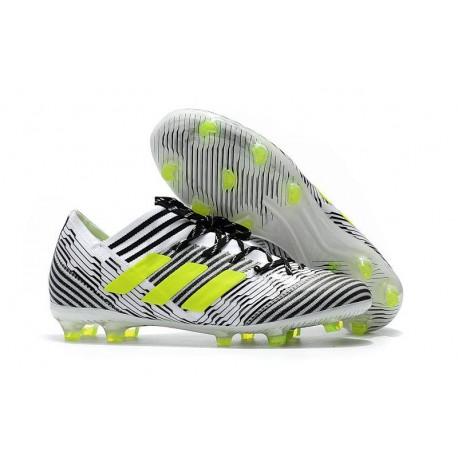 Nouvelles Crampons Adidas - Nemeziz Messi 17.1 FG Blanc Jaune Noir