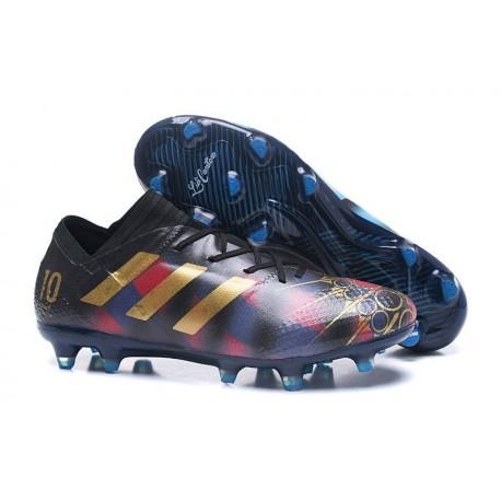 Chaussures de Football pour Hommes Adidas Nemeziz 17+ 360 Agility FG Messi Noir Or Bleu