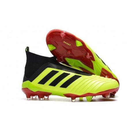 Chaussures de Football 2018 - adidas Predator 18+ FG Volt Noir Rouge