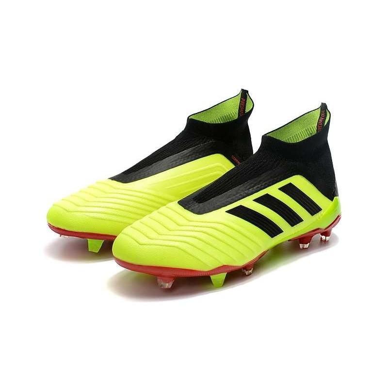 promo code ecca8 77c4b De Adidas Rouge Chaussures Predator Football Fg Volt 2018 18 Noir vdxqR