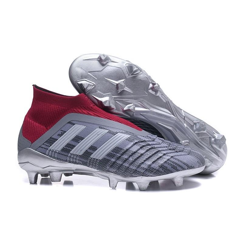 newest 46beb 6273d Chaussures de Football 2018 - adidas Predator 18+ FG Pogba Gris Rouge Zoom.  Précédent. Suivant