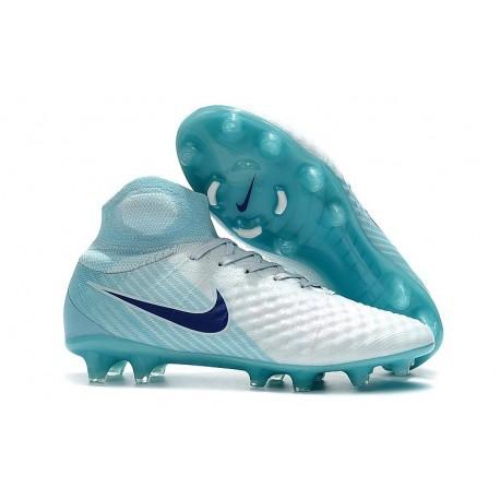 Nouveau Nike Magista Obra II FG - Chaussures de Football pour Hommes Blanc Bleu