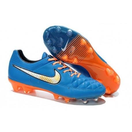 Chaussure de Football Nike Tiempo Legend FG - Bleu Orange Blanc