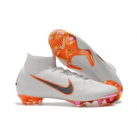 c8ffe2c13df9 Chaussures football Nike Mercurial Superfly VI 360 Elite FG pour Hommes  Blanc Gris Métallique Orange Total