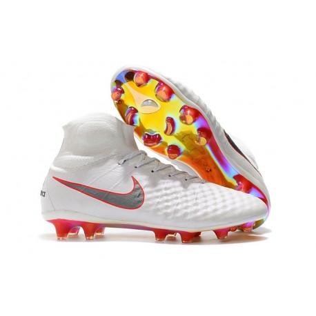 new styles 4d152 daec1 Crampons De Foot Nike Magista Obra 2 FG ACC Blanc Gris Métallique Carmin