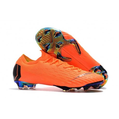 Nouveau Crampons de Football Nike Mercurial Vapor XII Elite FG Orange Noir