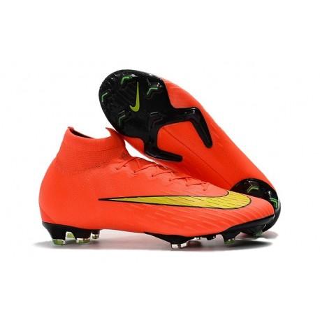 Chaussures football Nike Mercurial Superfly VI 360 Elite FG pour Hommes Orange Jaune