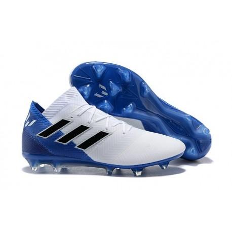 Nouvelles Crampons Foot Adidas Nemeziz Messi 18.1 FG Blanc Bleu