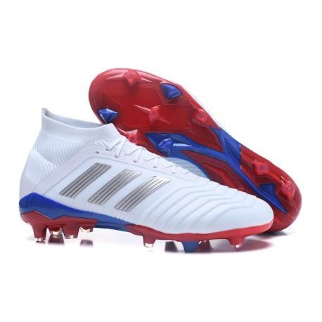 Chaussures de Football Pour Hommes - adidas Predator Telstar 18.1 FG Argent Rouge Bleu