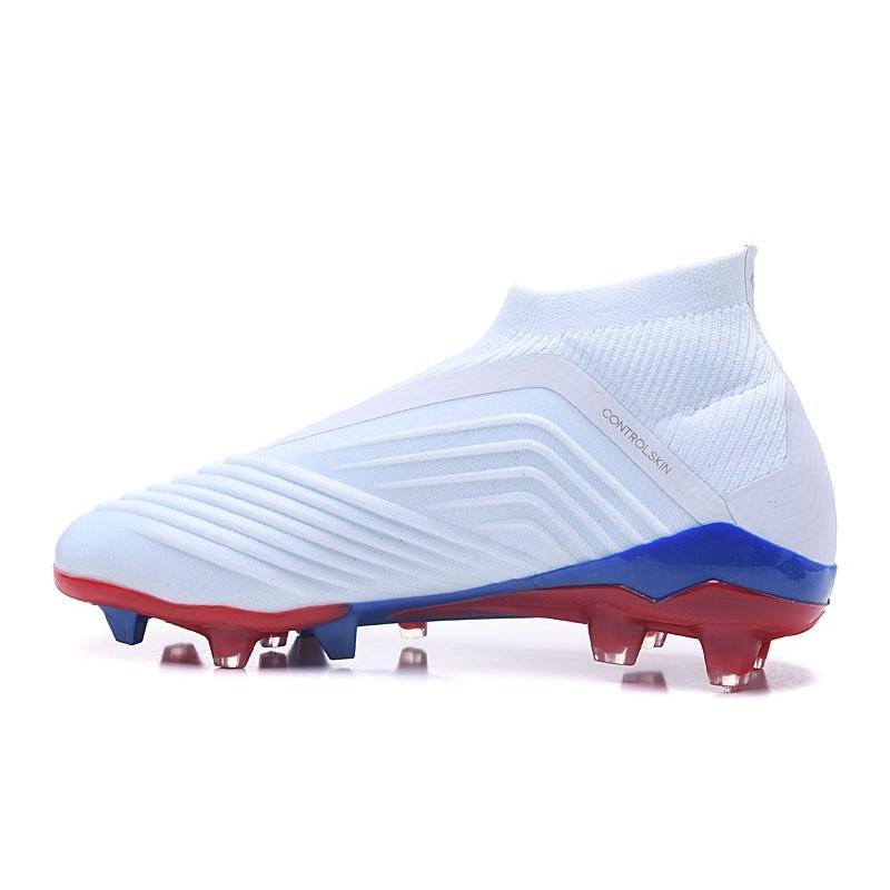Chaussures de Football Pas Cher Adidas Predator Telstar 18+ FG Argent Rouge Bleu