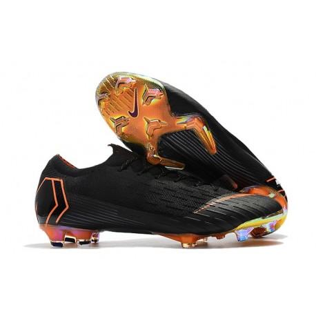 Nouveau Crampons de Football Nike Mercurial Vapor XII Elite FG Noir Orange Total Blanc