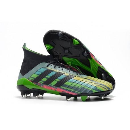 Chaussures Football Homme - Adidas Predator 18.1 FG Vert Noir Jaune