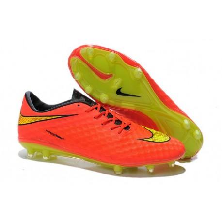 official photos 2d34b 165ba Chaussure De Football - Nike Hypervenom Phantom FG - Terrain Sec - Chaussure  Homme Orange Jaune