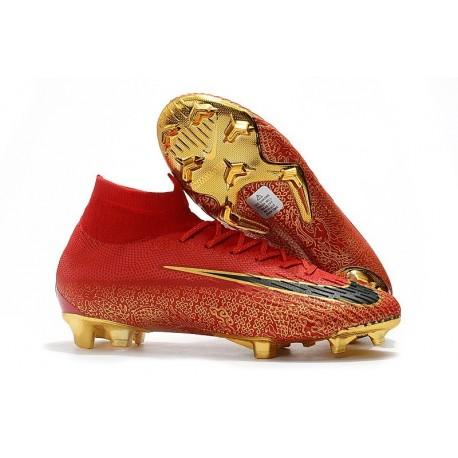Chaussures football Nike Mercurial Superfly VI 360 Elite FG Rouge Noir Or