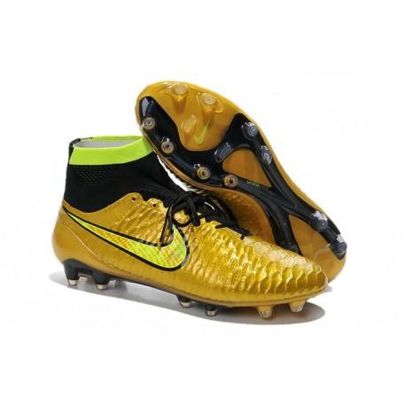 2015 Chaussures Football Magista Obra FG Pas Cher Or Volt Noir